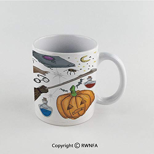 11oz Unique Present Mother Day Personalized Gifts Coffee Mug Tea Cup White Halloween Decorations,Magic Spells Witch Craft Objects Doodle Style Grunge Design Candle Skull,Multi Funny Ceramic Coffee Te]()