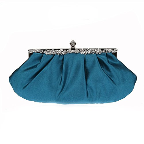 bolsa bolsa simple Flada noche embrague mujer dama de fiesta Seablue de Satn prpura de para bolso monedero boda la la la de TXprYpnz