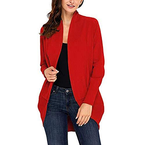 clearance sale!!ZEFOTIM Womens Open Front Fly Away Cardigan Sweater Long Sleeve Plus Loose Drape (US-14/CN-XL,Red) -