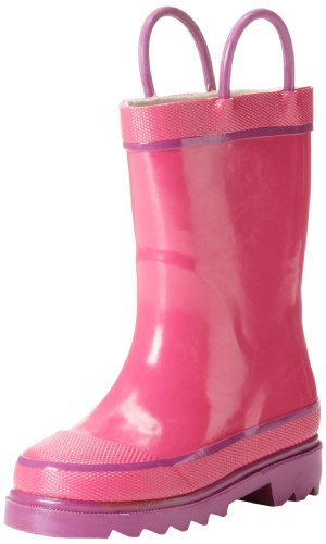 Western Chief Kids Waterproof Rubber Classic Rain Boot with Pull Handles, Pink, 9 M US Toddler]()