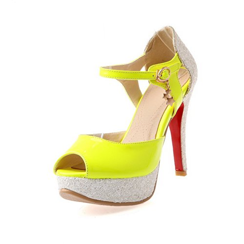 VogueZone009 Womens Open Peep Toe High Heel Platform Chunky Heels PU Soft Material Assorted Colors Sandals with Buckle, Yellow, 3.5 UK