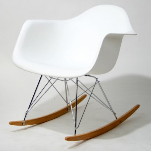 Molded Plastic Rocking Baxton Studio Letterio White Cradle Chair Contemporary Rocking Arm Chair