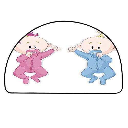 YOLIYANA Gender Reveal Semicircle Rug,Babies Lie and Keep The Pacifiers Lovely Toddlers Sweet Childhood Floor Mat,21.6