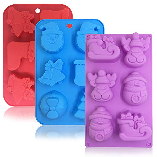 3 Pack Silicone Christmas Molds,Danzix Non-Stick Chocolate Jelly Baking mold for Party Xmas Gift,with Shape of Christmas tree,Elk,Socks,Bells,Gift, Snowman,Sleigh,Santa Claus -Red,Blue,Purple ()