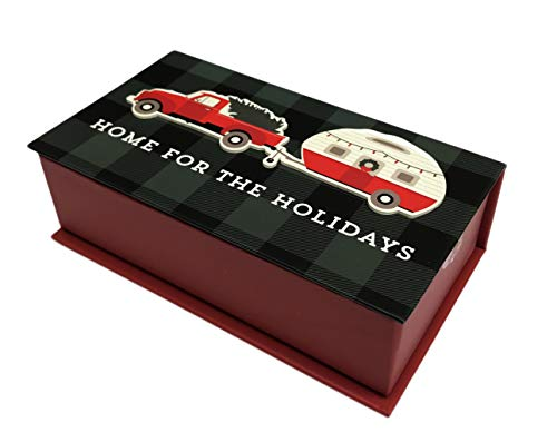 Home For The Holidays Red Truck & Canned Ham Camping Christmas Box of 12 Holiday Greeting Cards & Envelopes
