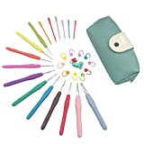 Firlar 30 Pieces Crochet Hooks Set with Comfort Soft Rubber Grip (Blue)