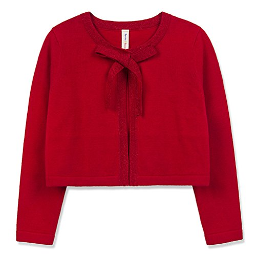 Benito & Benita Girl's Sweater Crew Neck Cardigan Long Sleeve Cotton Sweater with Bows Black/Red for 11-12Y