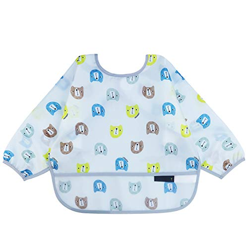 JNINTH.Long Sleeved Bib with pocket Baby Bib Toddler Bib Smock, Waterproof Washable Stain 6-18/18-42 Months toddlers (Grey Bear, 6-18-S)