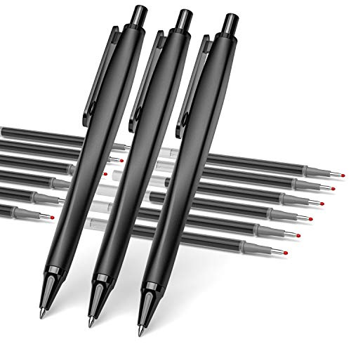 Nicpro 3 PCS 0.7mm Retractable Liquid Gel Ink Pen, Stainless Steel Rollerball Pen Set With 12 Black Refill Medium Lines For Smooth Writing