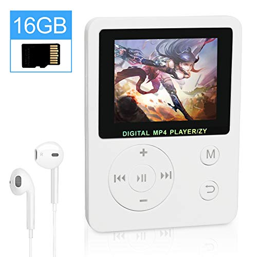 """THUNDERGOD Portable MP3 Player 16GB MP4 Player 1.8"""" LCD Digital Music Player with HiFi Sound Earphones Support Video Radio E-Book Recorder Picture"""