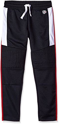 (Southpole Boys' Big Athletic Track Pants Open Bottom, Navy/Mojito Medium)