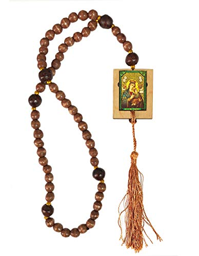 Catholic Wooden Rosary Prayer Beads with Our Lady of Perpetual Help and Christ The Teacher Byzantine Icon 17 Inch