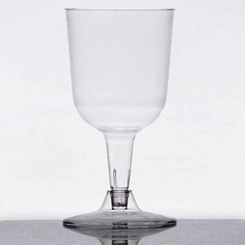 Visions 5 oz. Clear 2-Piece Plastic Wine Goblet - 20/Pack