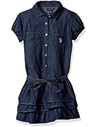Girls' Tiered Ruffle Denim Dress