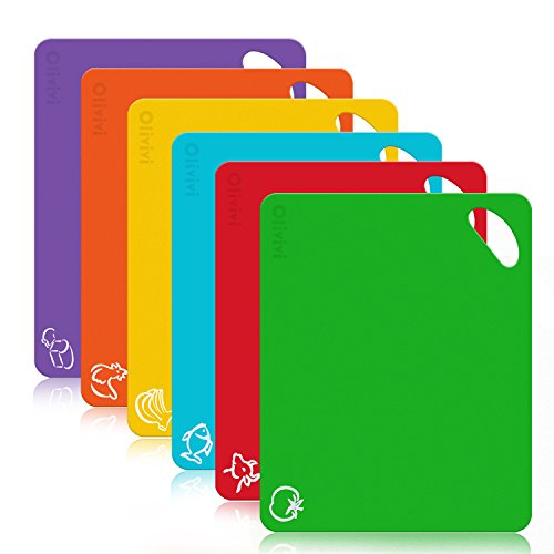 Extra Thick Flexible Plastic Kitchen Cutting Board Mats Set, Olivivi Colored Mats With Food Icons & Easy-Grip Handles, BPA-Free, Non-Porous, Dishwasher Safe, Set of 6