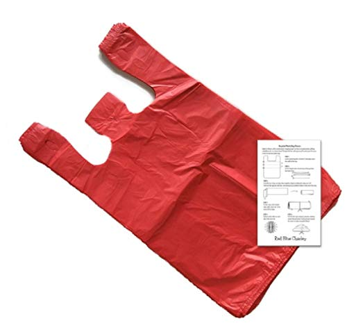 Plastic T-Shirt Bags (100 Pack) with Crafting Insert - Reusable Retail Shopping Bags (Red - Medium)