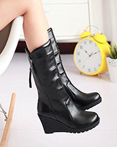 Aisun Womens Cool Platform Wig Mid-halfhoge Laarzen Zwart