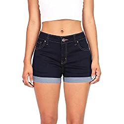 Wax Juniors Denim Shorts (Super Dark Denim, Small)