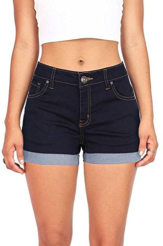 - Wax Juniors Denim Shorts (Super Dark Denim, Large)