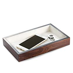 Bey Berk Lacquered Brown Burl Wood Open Face Valet Tray