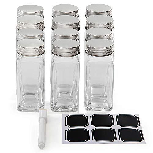 Set of 12 Square Glass Spice Jars with Shaker Tops, Chalkboard Labels & Pen, and Airtight Silver Metal Lids, Reusable Spice Containers w/ 4 Ounce Capacity for Organic Spices and Seasoning ()