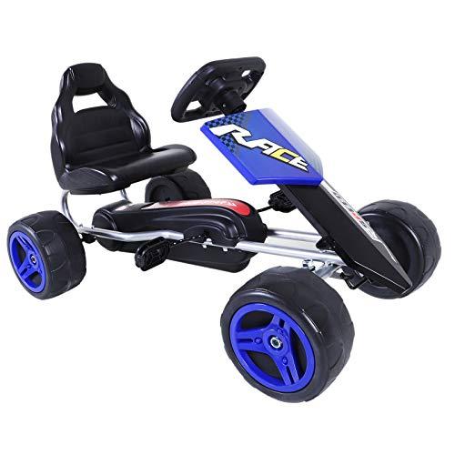 Aosom Kids Go Kart, 4 Wheeled Ride On Pedal Car, Racer for Boys and Girls for Outdoor - Blue ()