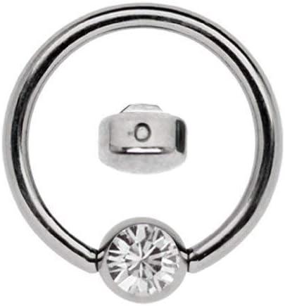 Anillo de titanio en 1,6 x 6mm como ARO Labial Piercing con 3mm Plano piedra en Muchos Colores SELECCIONABLE