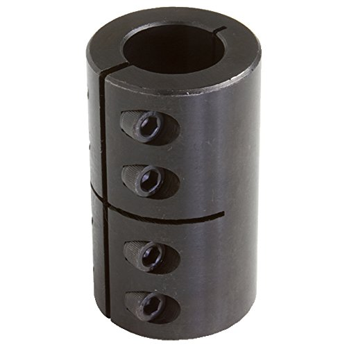 Climax Part ISCC-025-025 Mild Steel, Black Oxide Plating Clamping Coupling, 1/4 inch X 1/4 inch bore, 11/16 inch OD, 1 1/8 inch length, 4-40 x 3/8 Clamp (Clamp Coupling)