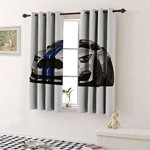 Thermal Insulated Blackout Curtains Boys Room Modern American Muscle Race Rally Car in Stylish Fancy Drive Formula Print Grey Black Blue Tripe Woven Textured Soft Curtain 63 by 72 ()