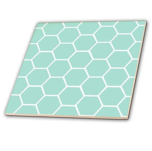 3dRose ct_120225_1 Mint Honeycomb Pattern Pastel Aqua Blue Hexagons Light Teal Turquoise Bee Hive Hexagonal Design Ceramic Tile, 4-Inch (Ceramic Tiles Turquoise)
