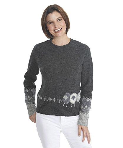 Woolrich 24177 Womens Sheep Crew Sweaters, Onyx Htr - (Woolrich Wool Blazer)