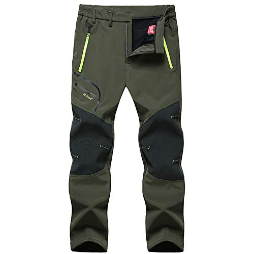 MirFreyr Mens Outdoor Waterproof Hiking Trousers Camping Climbing Fishing Trekking Softshell Thin Pants (Army Green, XXXL) from MirFreyr