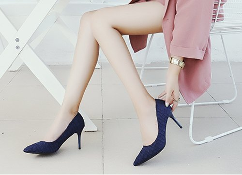 Mouth Navy 8Cm Heels Bridesmaid Match MDRW Shallow With Spring Shoes Fine Leisure All Shoes Work Lady 36 High Elegant A PwOqpF