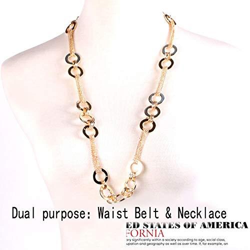 EDITHA Womens Metal Chain Belt Dress Accessory Decorated Skinny Waist Fashion BeltWaistband /…