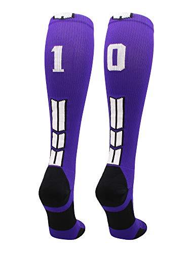 MadSportsStuff Player Id Number Socks Over The Calf Purple White (#10, Medium)