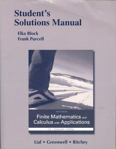 Student's Solutions Manual for Finite Mathematics and Calculus with Applications (Applications Manual)