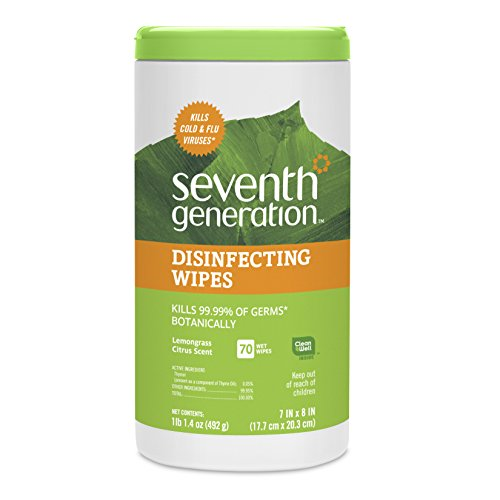 Seventh Generation Disinfecting Multi-Surface Wipes, Lemongrass Citrus, 70 count