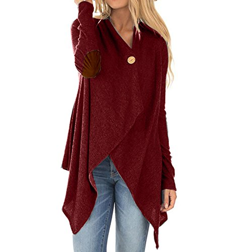 WEUIE Women Outwear Clearance Sale! Women Long Sleeve Patchwork Irregular Open Front Outwear Coat (XL,Wine Red) by WEUIE