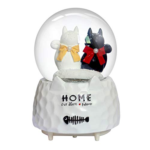 Snowflake Cat - Nice Pies Cartoon Black White cat Bow Snow Globe Music Box with Colorful Lights Automatic Snowflake Top Decoration Children's Student 100mm Water Globe
