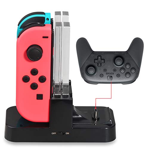 Fucung for Switch Host&Joy Cons USB Charging Station Dock Stand With LED Indicator For Nintendo Switch Host Joy-Cons Game Controller + Type C - Type Gm C