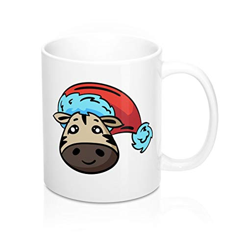 Zebra With Christmas Hat Mug- Coffee Mug, Tea Mug, Cute Mug - Gift, cute gift, Souvenir, 11oz, - Bobs Shoe Zebra