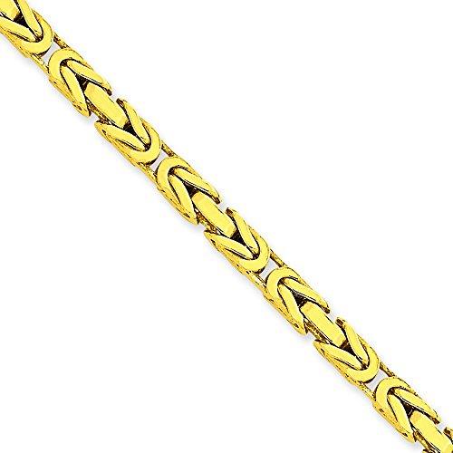 """Byzantine 14 carats - 4 mm-Bracelet chaine 7 """"Motif JewelryWeb pince de homard"""