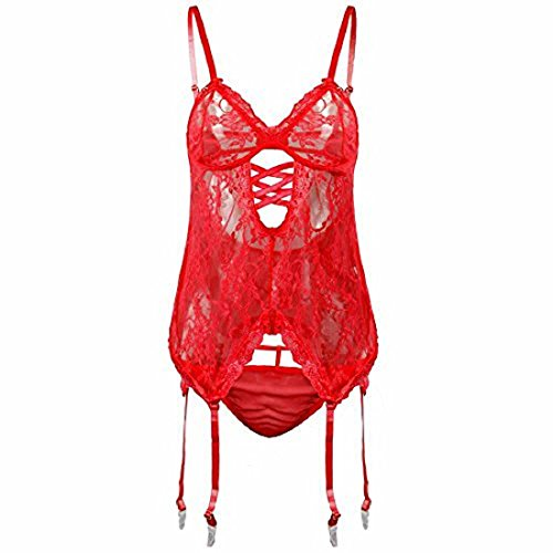 EVAbaby Sexy Lace Garter Lingerie Set Handcuff Corset Bodysuit for Woman Red S -