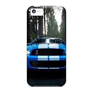 Protective Tpu Case With Fashion Design For Iphone 5c (ford Shelby Blue)