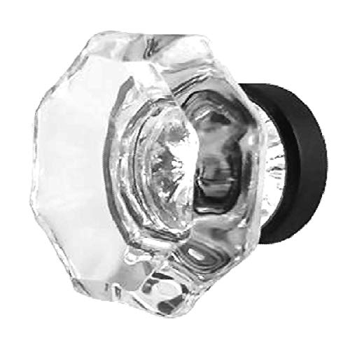 - Clear Crystal Octagon Glass Cabinet Knobs (4) Drawer Pulls & Handles ~ T26 Classic Flame Polished Glass Knobs with Oil Rubbed Bronze Base for Kitchen Cabinet, Cupboard, Dresser or Vanity