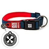 Max & Molly Ultra Comfortable Padded Neoprene Sport Dog Collar with Reflective Stitching and Smart Id Tag, Red, L