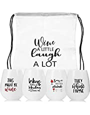 Vinglas-to-go, silikonvinglas set 4 vinglas med gravyr vin gåva okrossbart vin-to-go glas rödvinsglas vinglas av plast för resor, camping, picknick