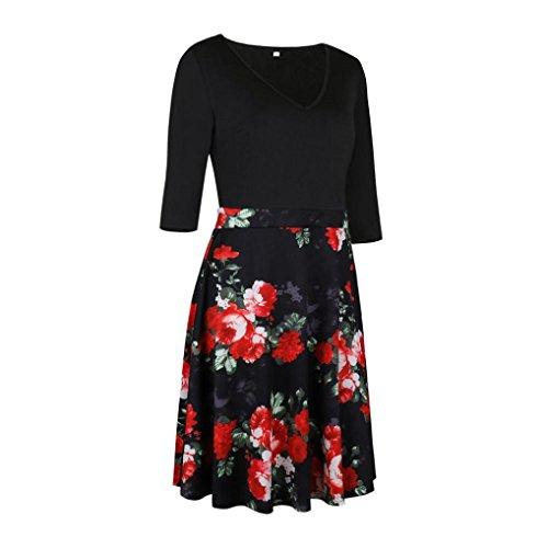 Leedford Women V Neck Half Sleeve A-line Floral Print Casual Mini Dress (S, Red -4)