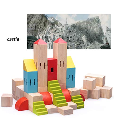HXGL-Toys Wooden Toy Castle Children's Gift Early Education Puzzle 3-6 Years Old (Color : Multi-Colored) by HXGL-Toys (Image #2)