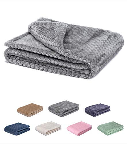 Fuzzy blanket or fluffy blanket for baby girl or boy, soft warm cozy coral fleece toddler, infant or newborn receiving blanket for crib, stroller, travel, outdoor, decorative(28 x 40 in, Flint Gray) ()